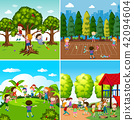 Set of children playing scenes 42094604