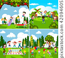 Set of scenes of children playing 42094605