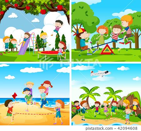 Set of scene of children playing 42094608
