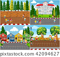 Children Playing Outdoor Math Games 42094627