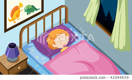 A Kid Sleeping in Bedroom 42094659