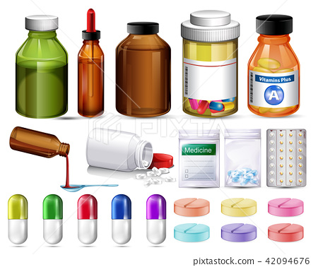 Set of pills and medicine containers 42094676