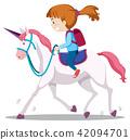 A Young Girl Riding Horse 42094701