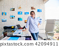 Portrait Of Happy Confident Woman Girl Working As Artist 42094911