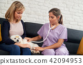 House Call Vet With Veterinary Dog Owner And Sick Pet 42094953