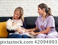 Veterinarian House Call With Doctor Dog Owner And Animal 42094993