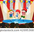 Three circus children performing 42095368