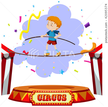 A Boy Tightrope Walking Circus 42095374