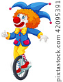 Colorful clown riding a unicycle 42095391