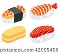 A Set of Sushi on White Background 42095459