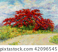 Peacock flowers with street view oil painting. 42096545