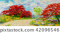 Oil painting Peacock flowers with farm, meadow 42096546