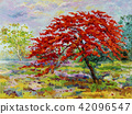 Oil painting Peacock flowers with farm, meadow 42096547