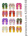 Summer flip flops set of colorful isolated 42096548