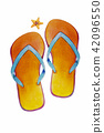 Sandals, starfish -  Watercolor painting 42096550