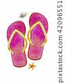 Sandals, starfish, shellfish - Watercolor painting 42096551