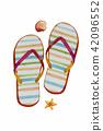 Sandals, starfish, shellfish - Watercolor painting 42096552