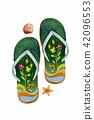 Sandals, starfish, shellfish - Watercolor painting 42096553