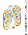 Sandals, starfish, shellfish - Watercolor painting 42096554
