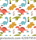 Cute seamless pattern with cartoon colorful dinosa 42097959