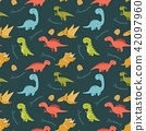 Cute seamless pattern with cartoon colorful dinosa 42097960