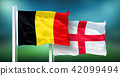 Belgium - England, 3rd place match of soccer World Cup, Russia 2018 National Flags 42099494