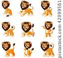 cartoon, lion, set 42099561
