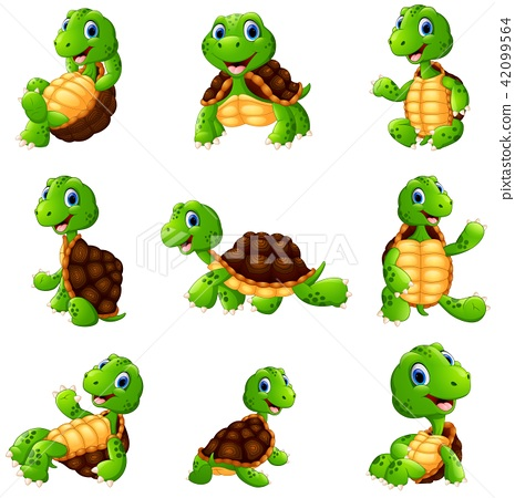 Happy turtle cartoon collection set 42099564