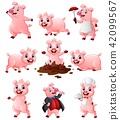 Happy pig cartoon collection set 42099567