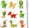 Set of cartoon dinosaurs collections 42099907
