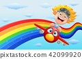 Happy little boy riding a plane in near rainbow 42099920