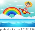 Happy little boy riding a plane above the ocean 42100134