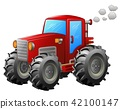 Red tractor on white background 42100147