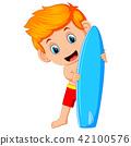 Cute surfer man is holding surfboard 42100576