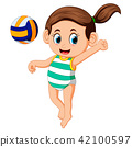 young woman playing volleyball on beach 42100597