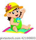 Happy woman wearing a bikini  42100603