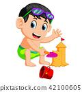 beach, boy, cartoon 42100605