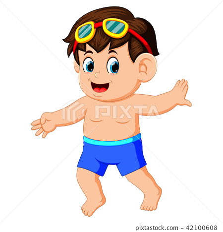 Happy little boy in swimsuit 42100608
