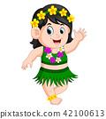 A beautiful girl in Hawaiian clothes dances Hula 42100613