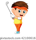 Golfer Hitting Golf Shot 42100616