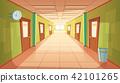 Vector cartoon school or college hallway, university corridor 42101265