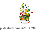 Shopping cart and vegetables on white background 42101798