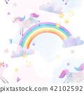 Watercolor unicorn vector pattern 42102592