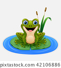 Cartoon frog on a leaf in the pond 42106886