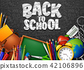 Back to School with school supplies and doodles on 42106896