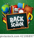 Back to school background with stationery and scho 42106897