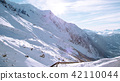 Panorama of snow mountain landscape, France 42110044