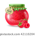 Raspberry jam in the glass jar 42110204