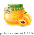 Apricot jam in the glass jar 42110214