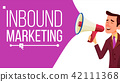 Inbound Marketing Banner Vector. Business Advertising. Male With Megaphone. CTA, Email, Landing page 42111368